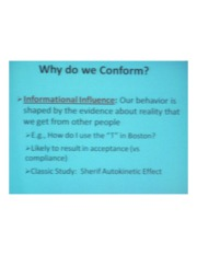 PSYCH 360 Social Psychology - Why Do We Conform?