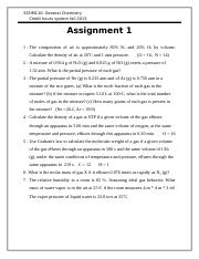 Assignment 1 Chemistry