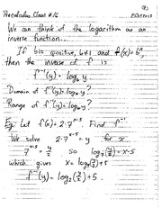MATH 1110 Fall 2013 Inverse Logarithms Lecture Notes