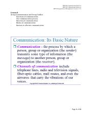 Lesson 8 Group Communication & Group Conflict