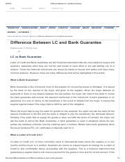Difference Between LC and Bank Guarantee
