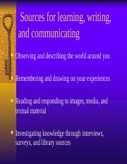 Sources for learning, writing, and communicating