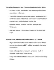 Canadian Restaurant and Foodservices Association Notes