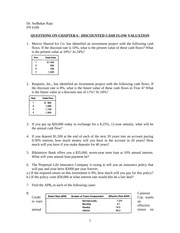 QUESTIONS ON CHAPTER 6 - DISCOUNTED CASH FLOW VALUATION