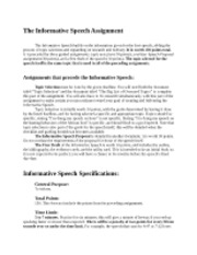 Informative Speech Assignment Guidelines