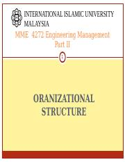MME 4272 S21617 ORGANIZATIONAL STRUCTURE