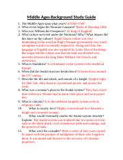 Middle Ages Background Study Guide