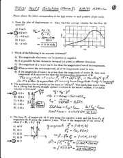 Exam A 2001 Solutions on General Physics