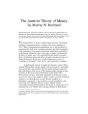 Austrian Theory of Money, intro paper support