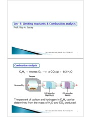 Lecture 8  Limiting reactants & Combustion analysis