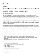 Appendix D_ Modeling Mergers and Buyouts with DealModeler®_ User's Manual - Valuation for Mergers, B