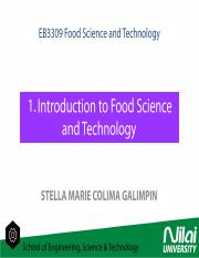 EB3309 1 Introduction to Food Science and Technology