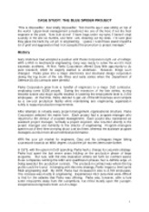 blue spider project case study analysis The blue spider project goshe corporation, case study help case study analysis abstract project management is an application of the knowledge.