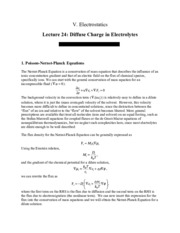 Diffuse Charge in Electrolytes review notes