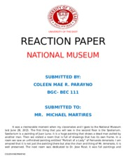 REACTION PAPER-NATIONal MUSEUM