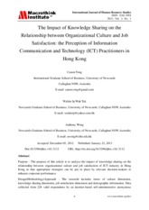 The Impact of Knowledge Sharing on the Relationship between Organizational Culture and Job Satisfact