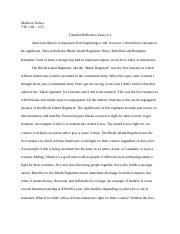 Timeline Reflection Essay
