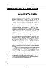 chemfile mini-guide to problem solving empirical formulas