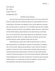 "Definition Essay ""Bullying"""