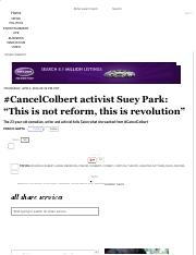 "#CancelColbert activist Suey Park_ ""This is not reform, this is revolution"" - Salon"