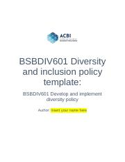 BSBDIV601 Diversity and inclusion policy REVISED Oscar Zambrano.docx
