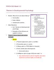 PSYCH 302 Week 1.2&2 themes in development psychology .docx