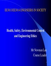 Health, Safety, Environmental Control and Engineering Ethics