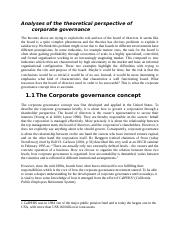 Analyses of the theoretical perspective of corporate governance