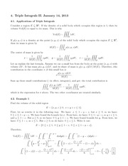 Lecture 4 on Triple Integrals II