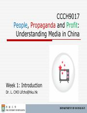 CCCH9017 Week 1 Introduction Outline