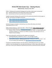 TCEM Student Orgs 1.18.17 Meeting Minutes