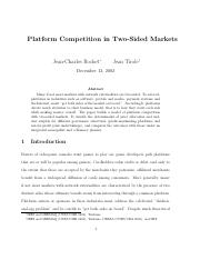 Noble Laureate - Jean Tirole Platform Competition in Two-Sided Markets.pdf
