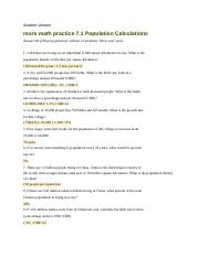 Population Calculation Math Problems - Student Version more math practice 7.1 Population ...