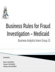 Fraud Investigation on Medicaid Agency - Team 15