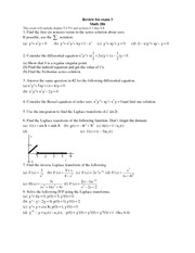 Exam C Review on Differential Equations