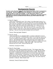 Developmental Theories Worksheet