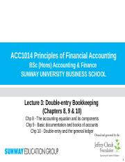 Lecture 3 (Chp 8, 9 & 10) - Double-entry bookkeeping(1)