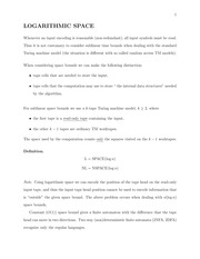 Lecture 8 Notes - Logarithmic Space
