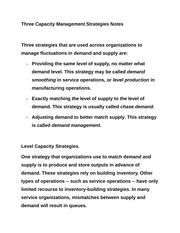 Three Capacity Management Strategies Notes
