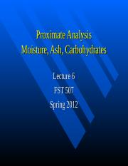 Lecture 6 Proximate Moisture Ash Carbs