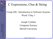 COMP 206 Lecture Week 5 Day 1 - Expr + Strings