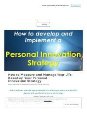 How to Measure and Manage Your Life Based on Your Personal Innovation Strategy.pdf