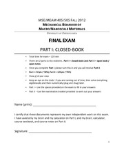 MSE405-505 2012C Final Exam
