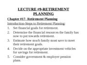 YULECTURE #9-RETIREMENT PLANNING