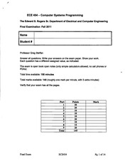 ECE454 Fall Official Exam 2011