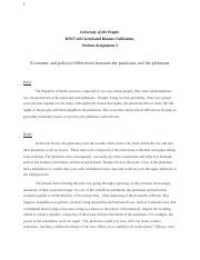 Written Assignment 3 - Economic and political differences between the patricians and the plebeians -