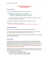 BSC1020_Spring2014_EXAM 3 Study Guide