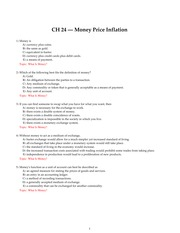 Chapter 24 Money Price Inflation