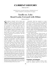 Brazil 2011-02 Current History Brazil Looks Forward with Dilma