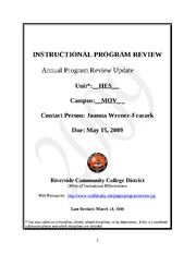Annual Program Review HES 2009 MV